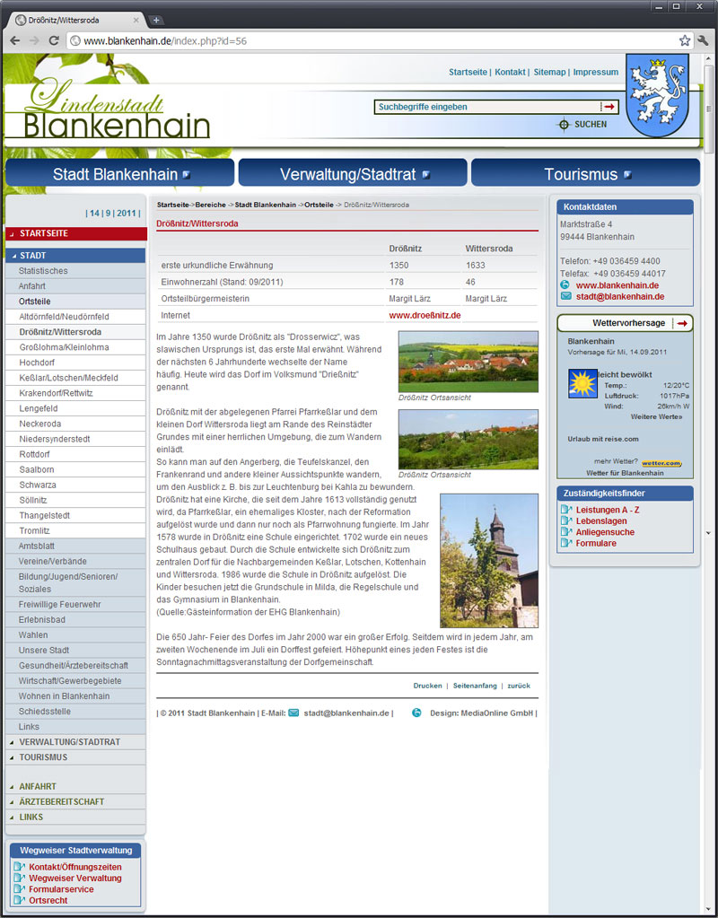 Blankenhain hat eine neue Webseite